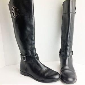 SZ 8 Tory Burch Black Logo Leather Knee High Boots